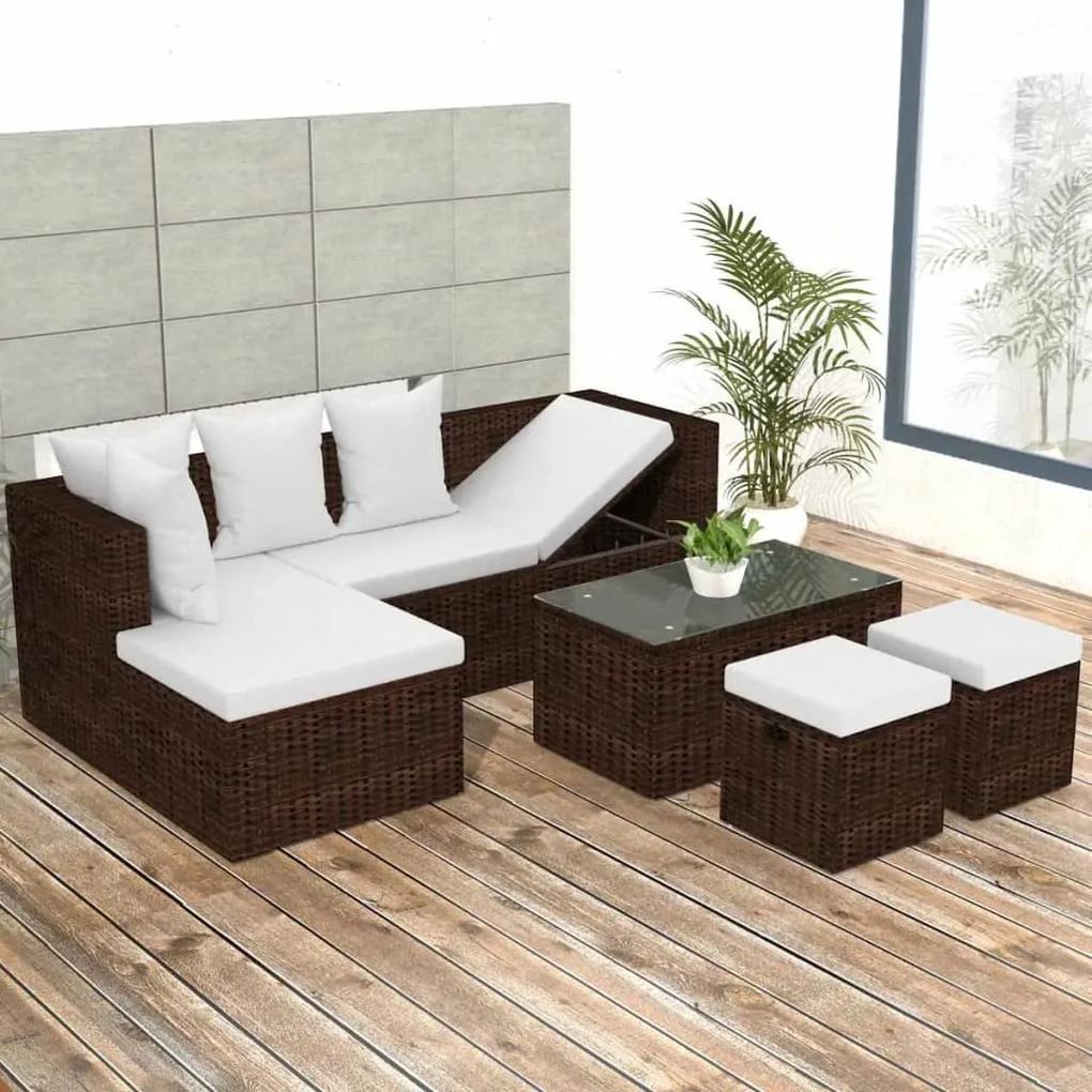 vidaXL 4-dielna záhradná sedacia súprava+podložky, polyratan, hnedá