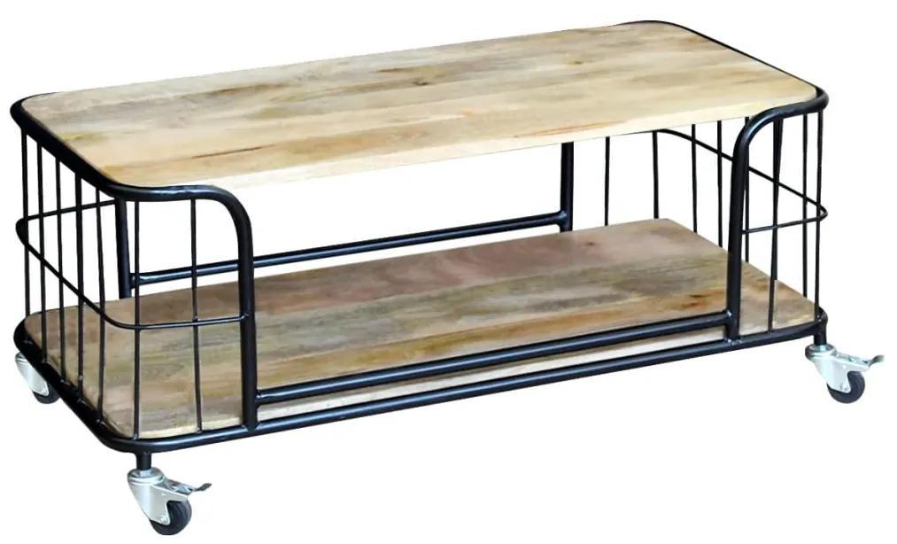 vidaXL Konferenčný stolík z masívneho mangového dreva, 100x50x35cm
