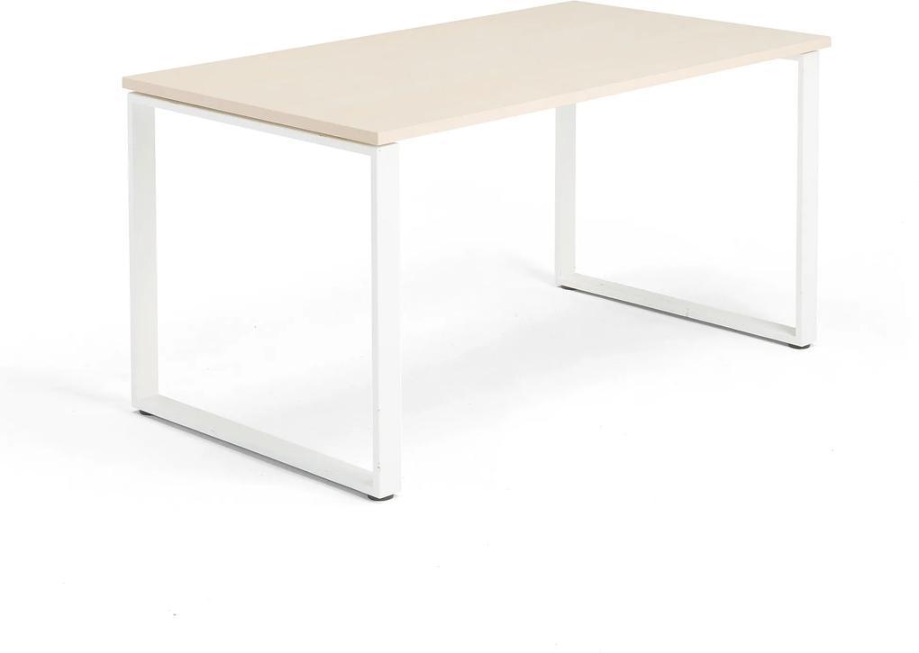 Kancelársky pracovný stôl Modulus, O-rám, 1400x800 mm, breza/biela