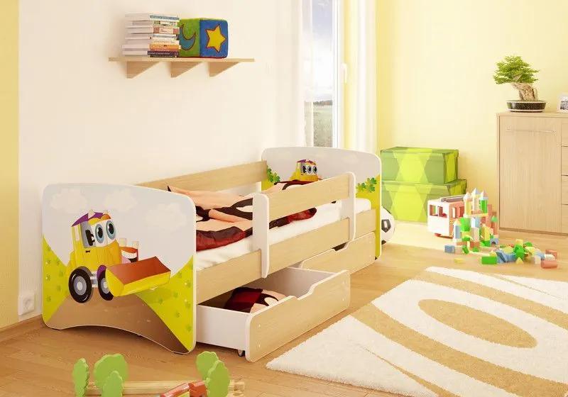 MAXMAX Detská posteľ BAGR funny 180x80 cm - sa zásuvkou 180x80 pre chlapca ÁNO
