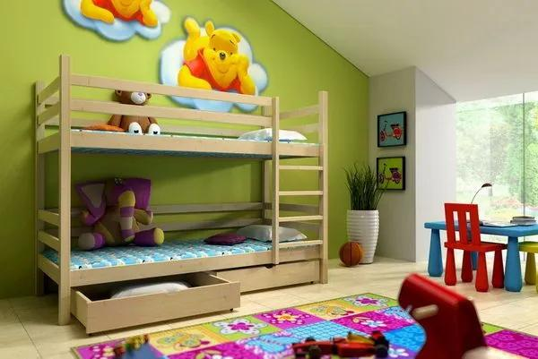 MAXMAX Detská poschodová posteľ z MASÍVU 200x80cm so zásuvkami - PP008 200x80 ÁNO