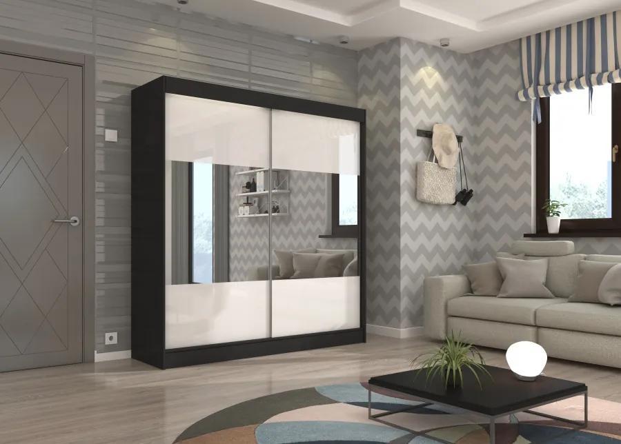 Čierna šatníková skriňa Galway s bielymi posuvnými dverami a zrkadlom 200 cm