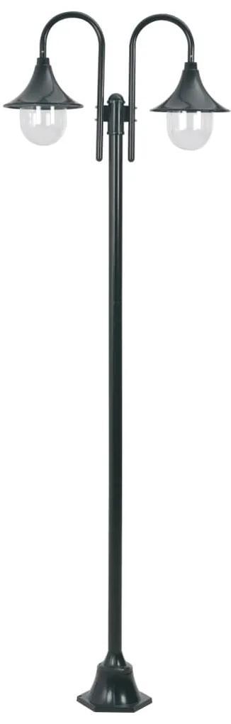 vidaXL Záhradná stĺpová lampa E27 220 cm hliník 2-lampáše tmavozelená
