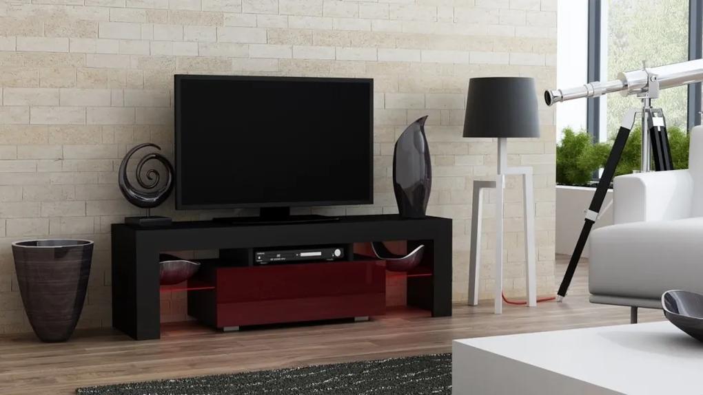 Mazzoni TV stolík MILANO lesklý 130 LED čierna, burgund zásuvka