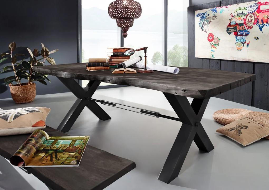 Bighome - DARKNESS Jedálenský stôl 220x110 cm - čierne nohy, sivá, akácia