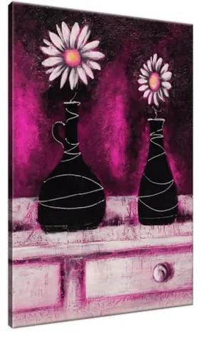 Ručne maľovaný obraz Margarétkové ružové trio 70x100cm RM2469A_1AB
