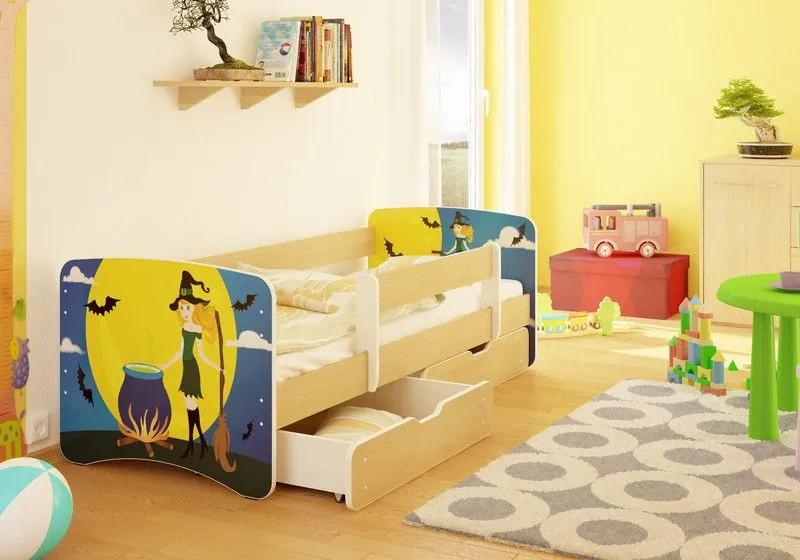 MAXMAX Detská posteľ Čarodějky funny 160x70cm - so zásuvkou 160x70 pre dievča ÁNO