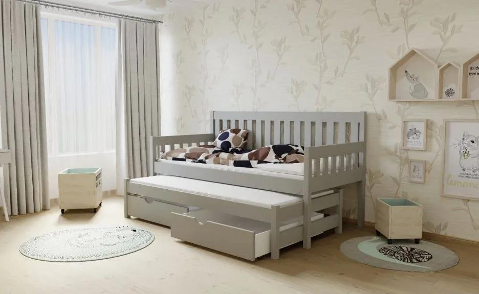 MAXMAX Detská posteľ s výsuvnou prístelkou z MASÍVU 200x90cm bez šuplíku - M06