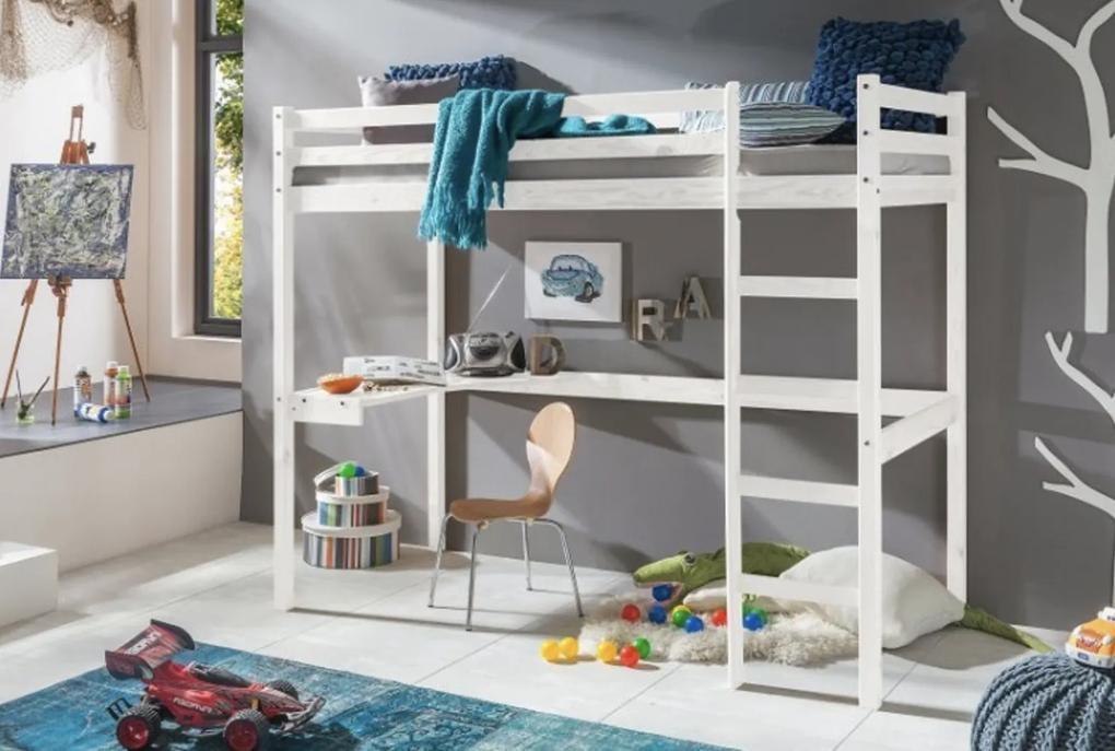 MG Vyvýšená detská posteľ Aria 200x90 - biela