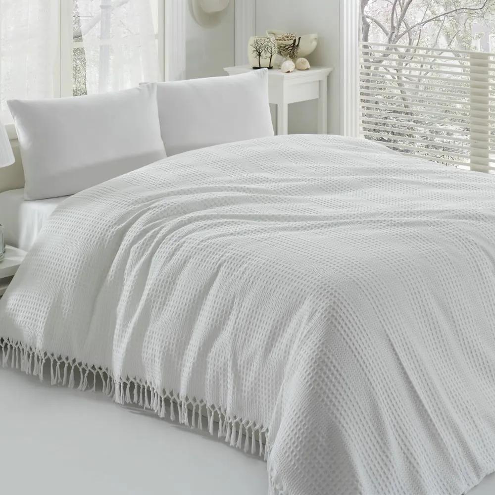 Biely bavlnený ľahký pléd na dvojlôžko Pique, 220 x 240 cm
