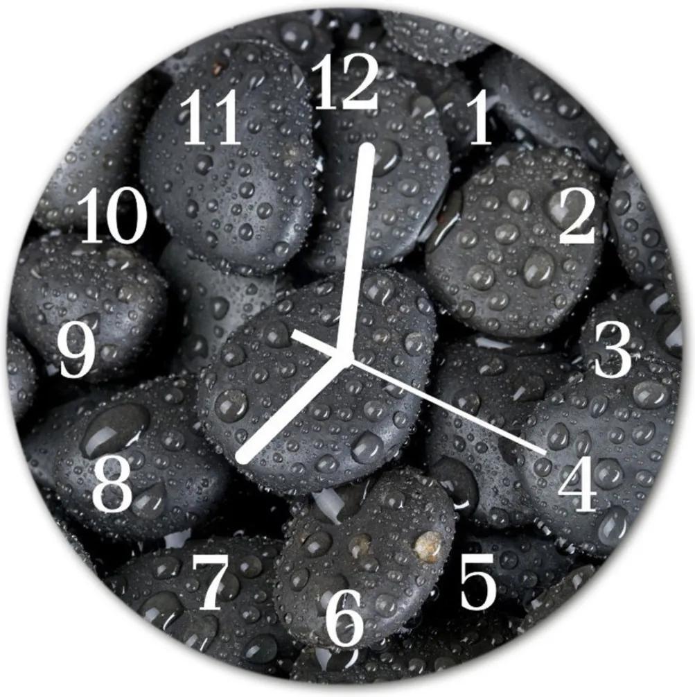 Skleněné hodiny kulaté Vodní kameny