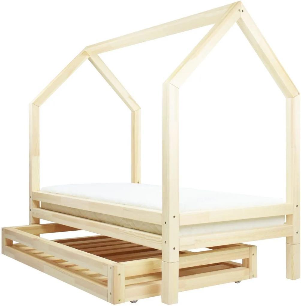 MAXMAX Detská dizajnová posteľ z masívu 200x90 cm DOMČEK 3 so zásuvkami 200x90 ÁNO