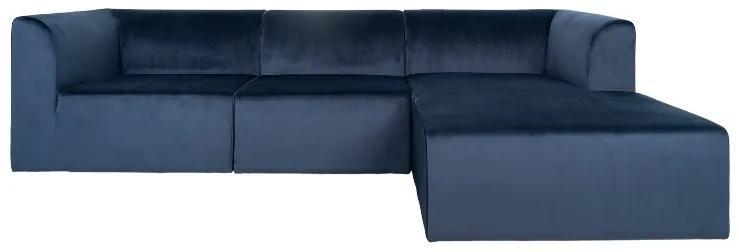 Alba Lounge rohová sedačka zamatová modrá pravá