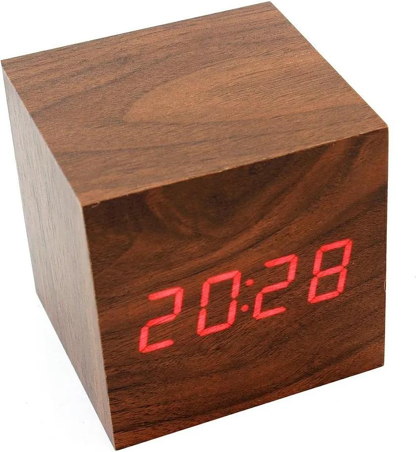 APT Drevený budík kocka, hnedá, ZG2D