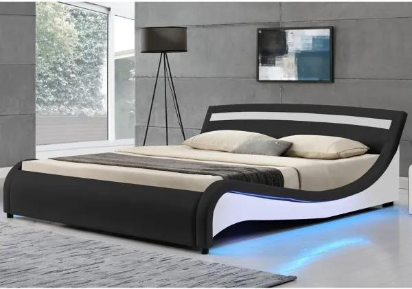 """Čalúnená posteľ ,,Malaga"""" 180 x 200 cm s LED bočnými panelmi - čierna"""