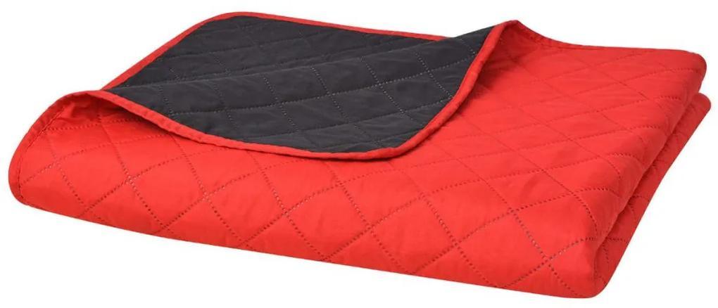 vidaXL Obojstranná posteľná prikrývka, červená a čierna, 220 x 240 cm