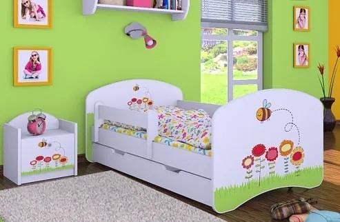 MAXMAX Detská posteľ so zásuvkou 140x70 VČELIČKA A KVETINKY