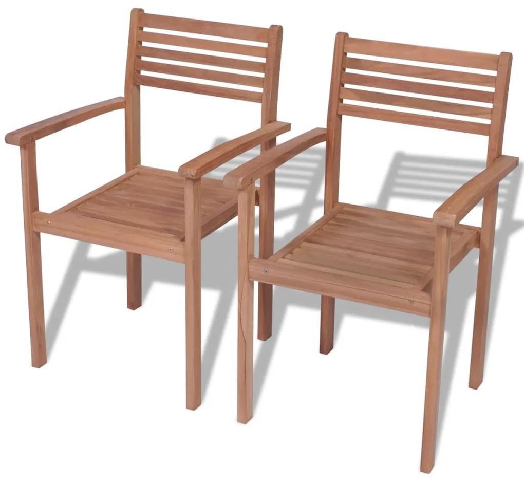 vidaXL Stohovateľné záhradné stoličky 2 ks, tíkový masív