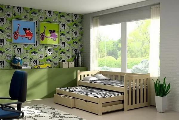 MAXMAX Detská posteľ s výsuvnou prístelkou z MASÍVU 200x90cm bez šuplíku - DPV002 200x90 NIE