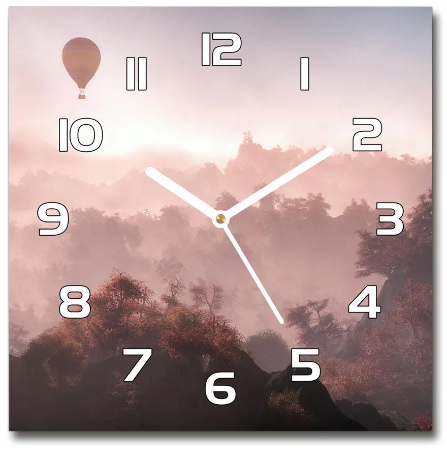 Sklenené hodiny štvorec Balon nad lesom pl_zsk_30x30_f_73608942