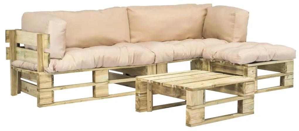 vidaXL 4-dielna záhradná súprava, palety, pieskové podložky, drevo
