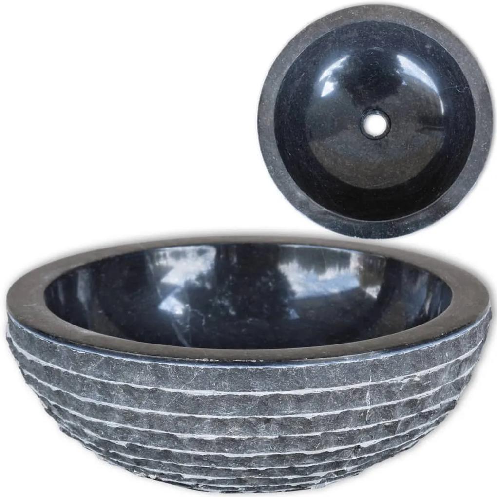 vidaXL Umývadlo, mramor 40 cm, čierne
