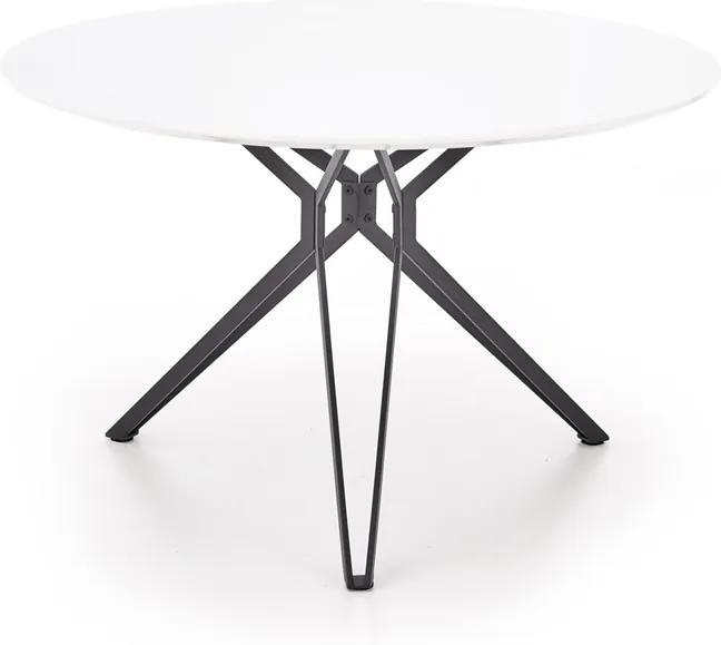 HALMAR Pixel okrúhly jedálenský stôl biely lesk / čierna