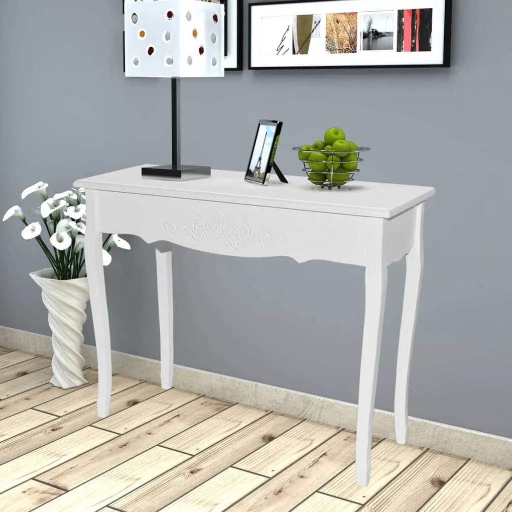vidaXL Konzolový stolík, biely