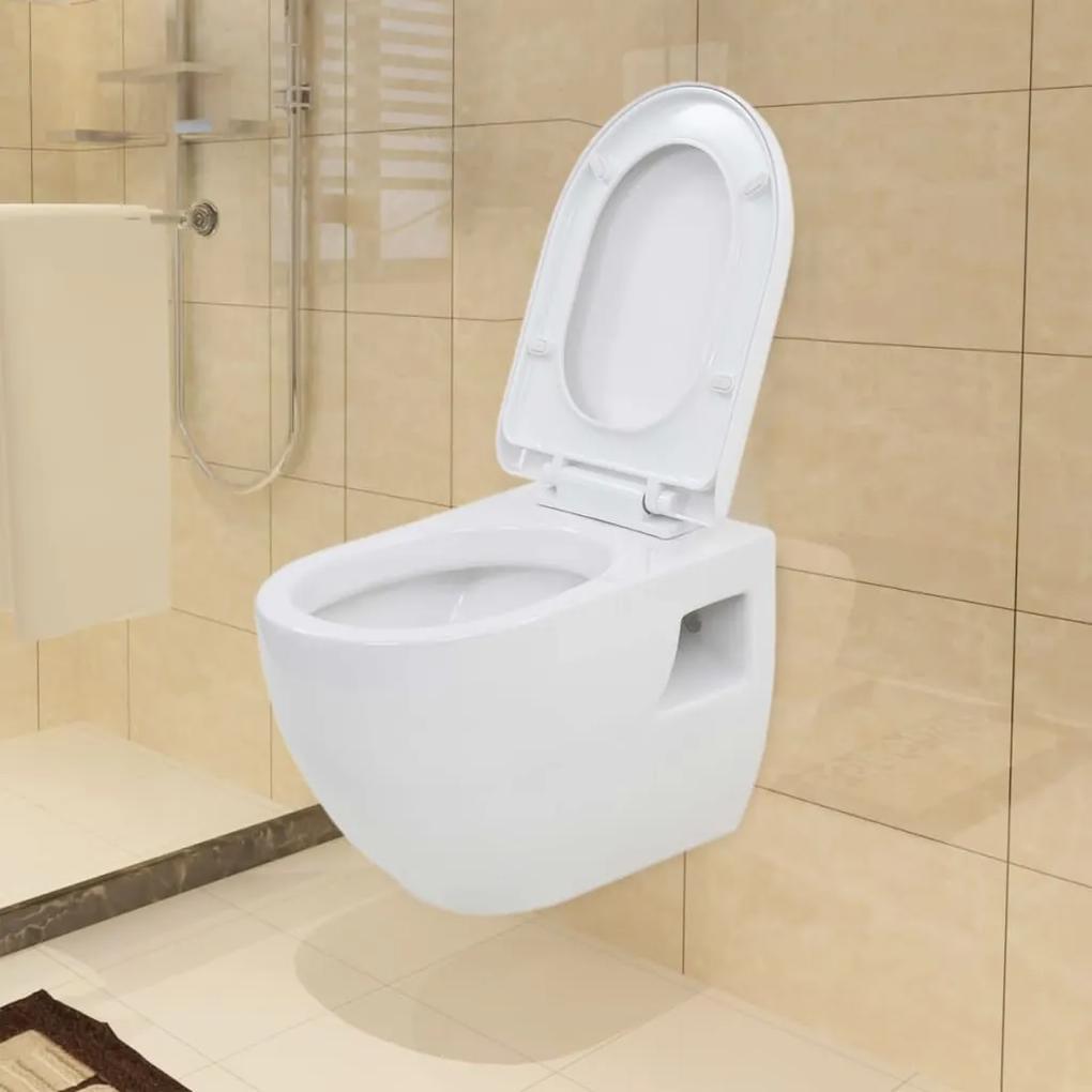 vidaXL Závesné WC, keramické, biele