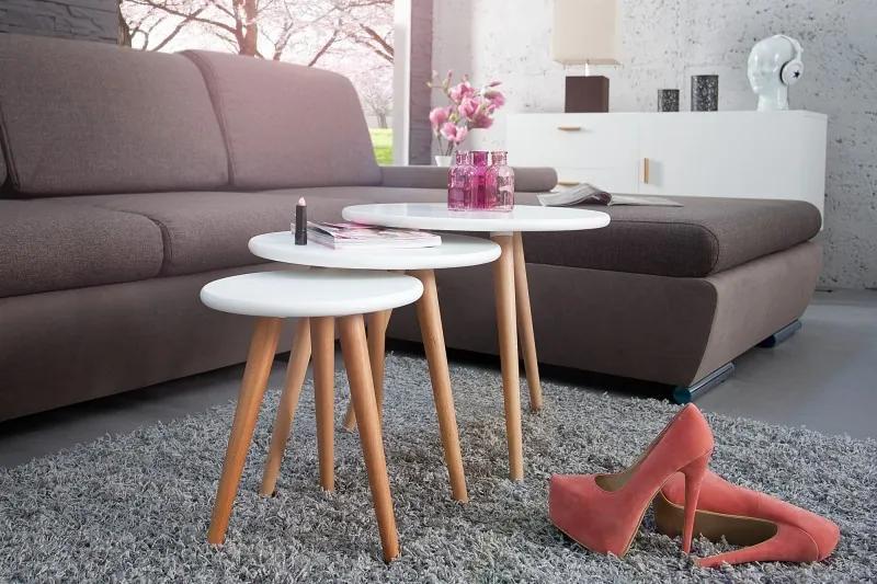 Odkladací stolík Scandinavia 3 biely z bukového dreva