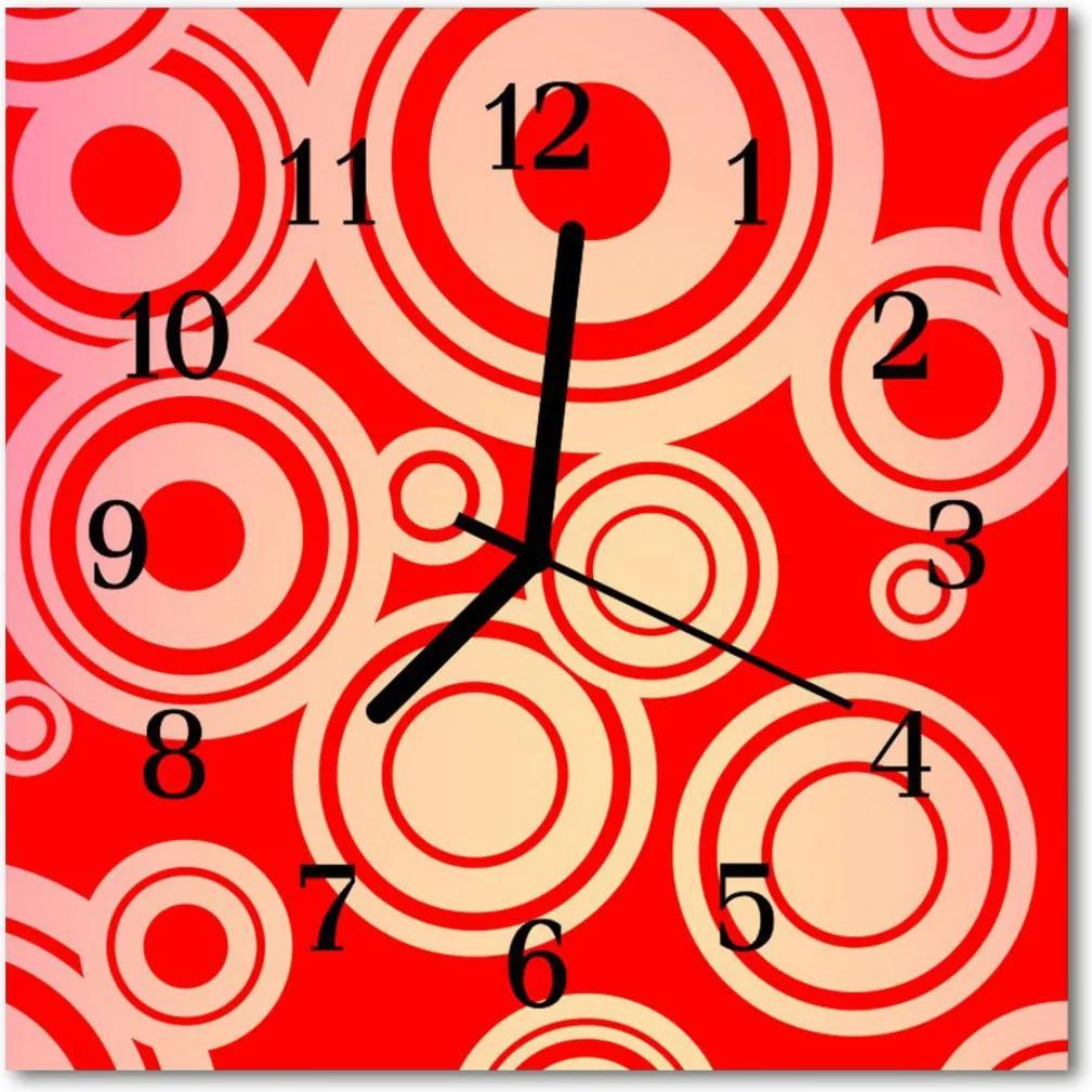 Skleněné hodiny čtvercové Červené kolečka