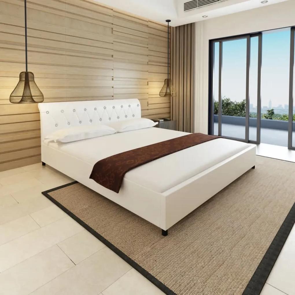 Rám postele, umelá kože, 180x200 cm, biely