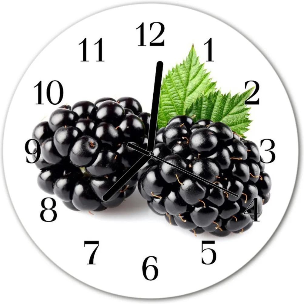 Nástenné skleněné hodiny ostružiny