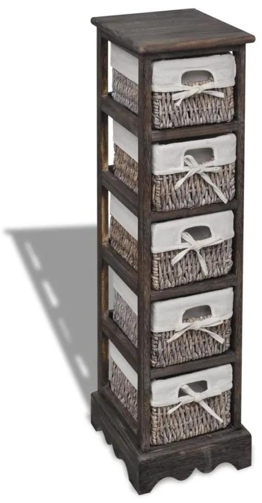 vidaXL Drevený regál s 5 prútenými košíkmi, hnedý
