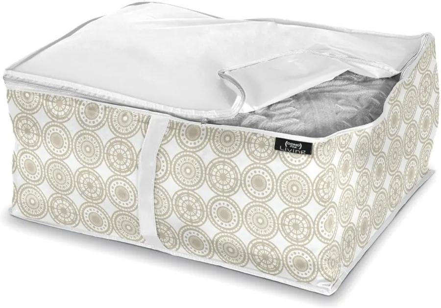 Béžový úložný box na prikrývky Domopak Living Ella, dĺžka 55 cm