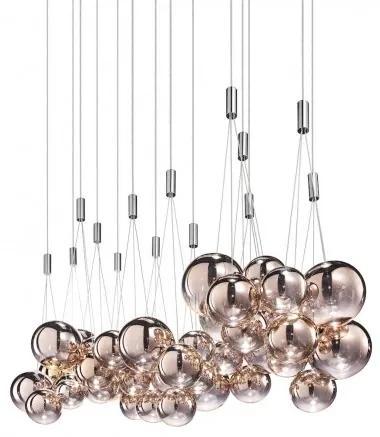 Závěsné svítidlo Radom z červenozlatého foukaného skla, 3 x 1W LED 2700 K, prům.29 cm Studio Italia Design 164004