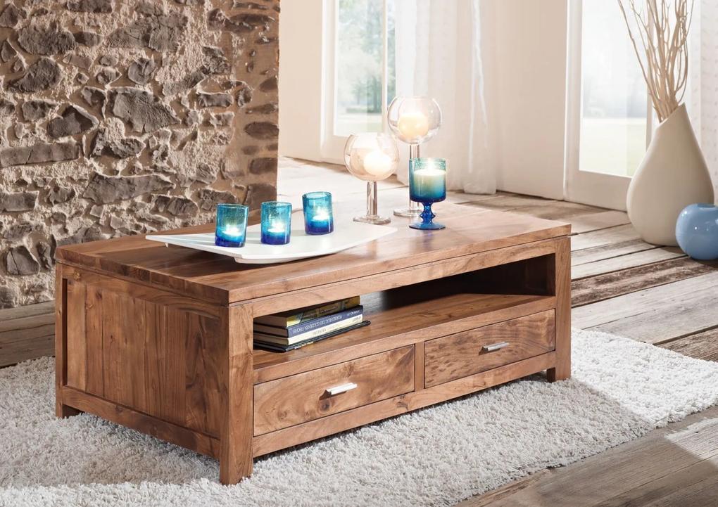 Bighome - KOLINS Konferenčný stolík s poličkou 110x60 cm, akácia