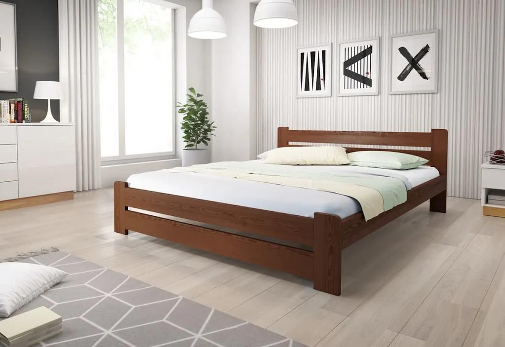 Posteľ HEUREKA + matrac + rošt, 140x200 cm, orech-lak