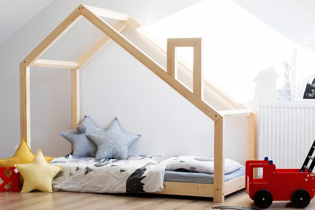 MAXMAX Detská posteľ z masívu DOMČEK s komínom 140x70 cm 140x70 pre dievča|pre chlapca|pre všetkých NIE
