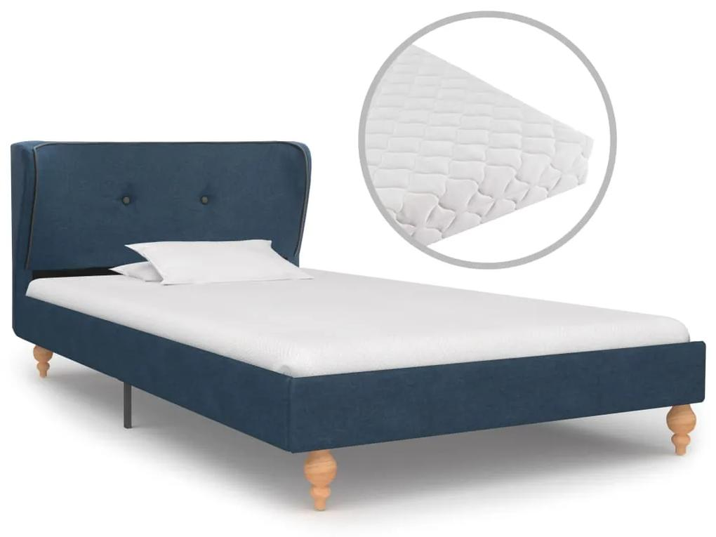 vidaXL Posteľ s matracom, modrá, látka 90x200 cm