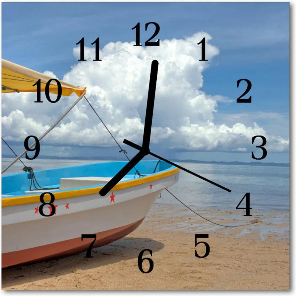 Nástenné skleněné hodiny člun