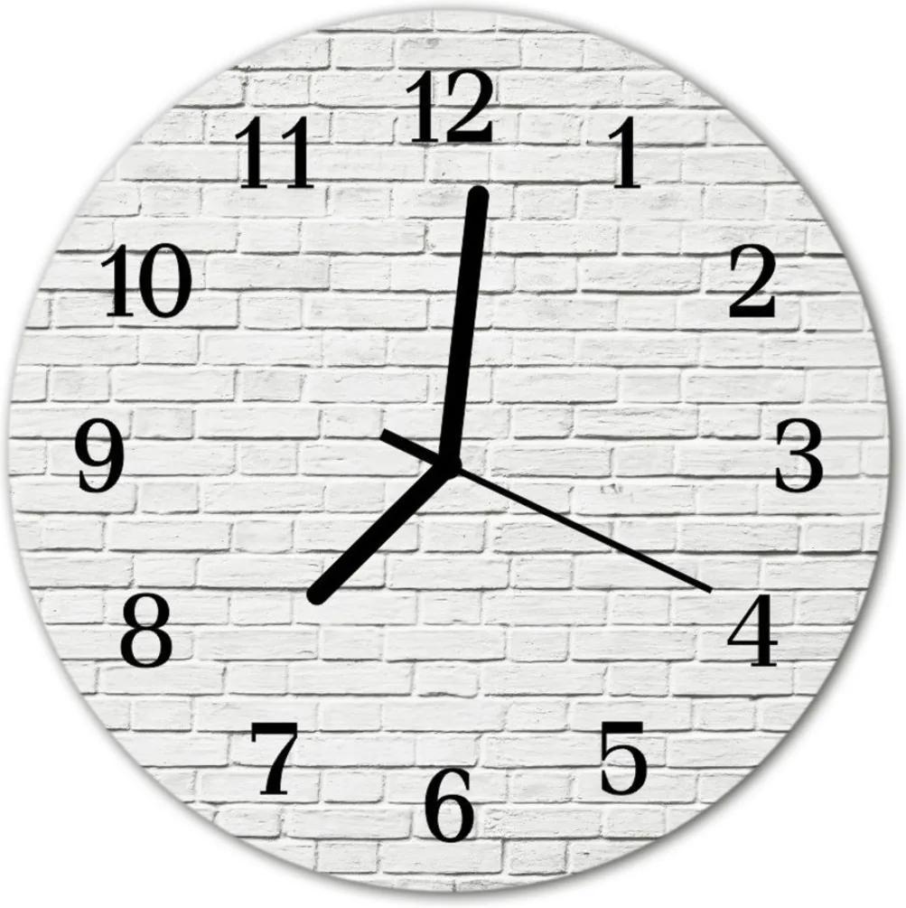 Skleněné hodiny kulaté Cihlová zeď
