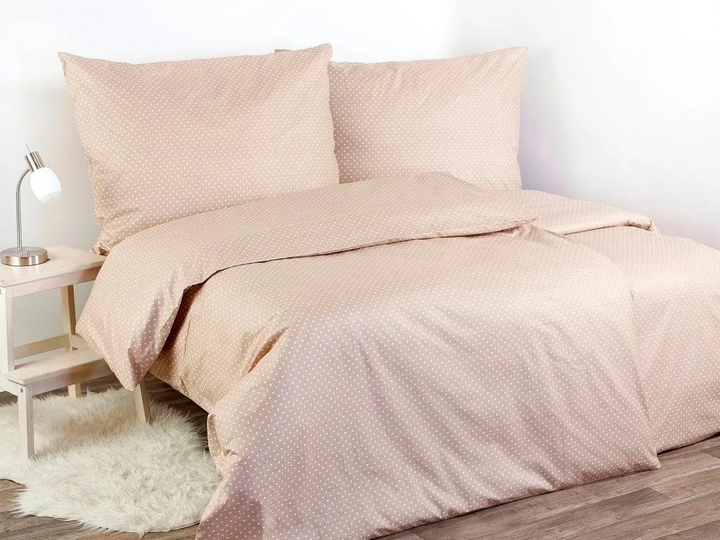 Škodák Bavlnené posteľné obliečky vzor B-593 biele bodky na béžovom - Do postieľky 90x140 a 50x70 cm