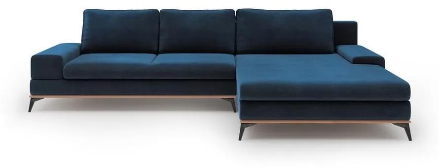 Kráľovskymodrá rozkladacia rohová pohovka so zamatovým poťahom Windsor & Co Sofas Astre, pravý roh