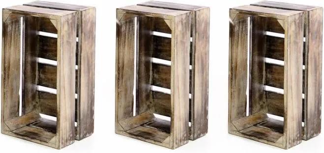 Sada 3 ks Drevená debnička VINTAGE DIVERO hnedá - 51 x 36 x 23 cm