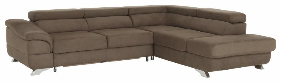 Rohová rozkladacia sedačka, hnedá, pravá, LEGAS