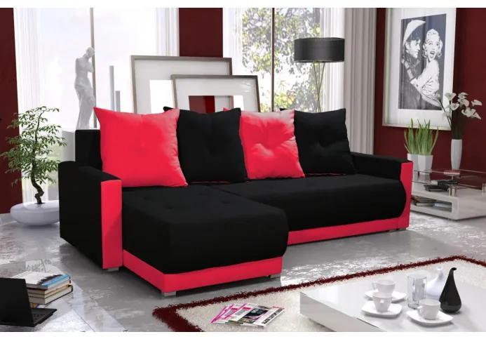 Elegantná sedacia súprava s opierkami LEONARD BIS, čierna + červená