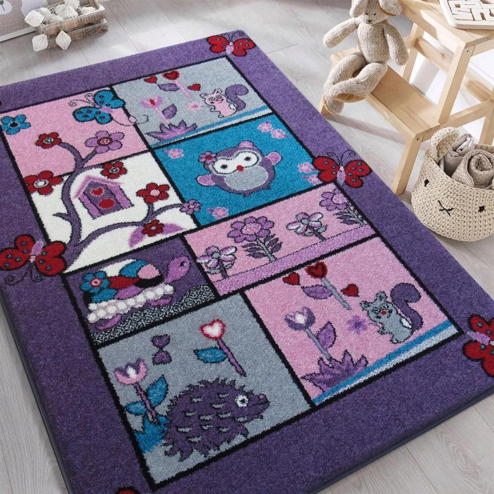 DY Detský fialový koberec Zvieratká - rôzne rozmery Rozmer: 200 x 290 cm