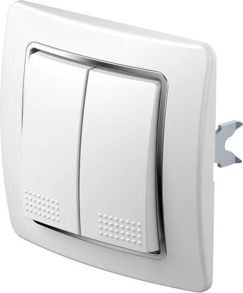 SE51   Tlačidlo sériové s krytom a rámikom Farba: Biely duroplast