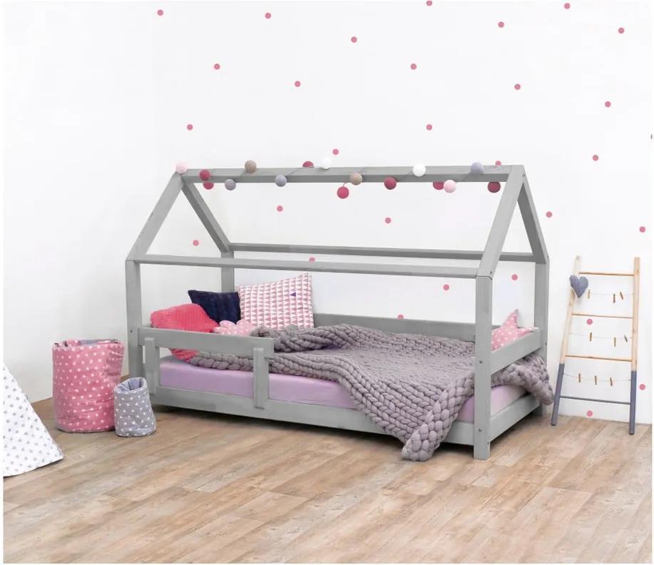 Sivá detská posteľ s bočnicami zo smrekového dreva Benlemi Tery, 90 × 200 cm